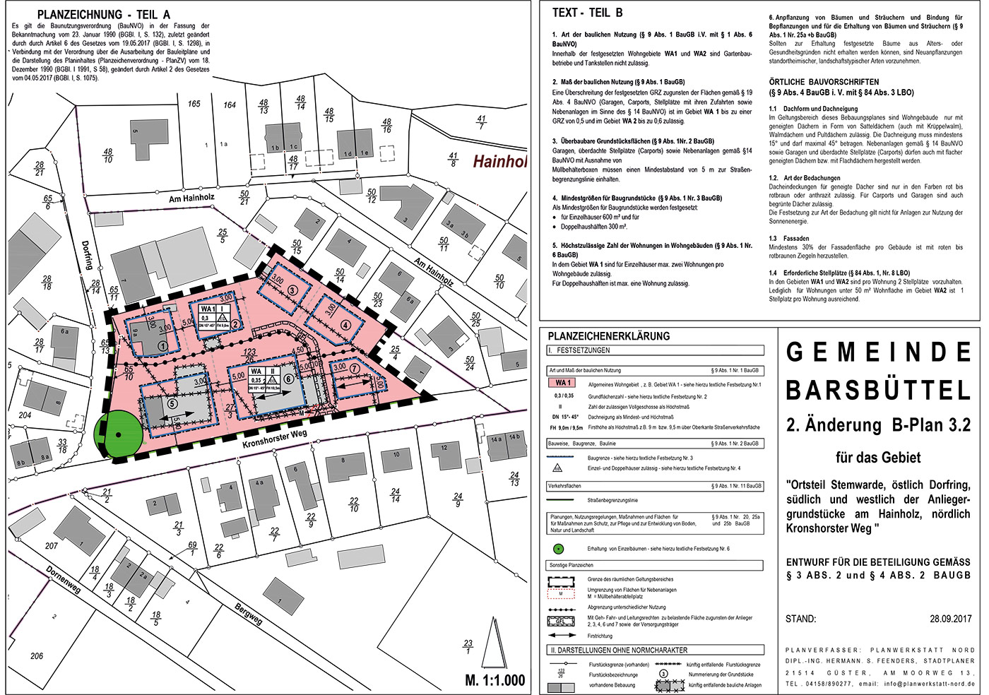 Planzeichnung Baugebiet Barsbüttel - Bauland 24