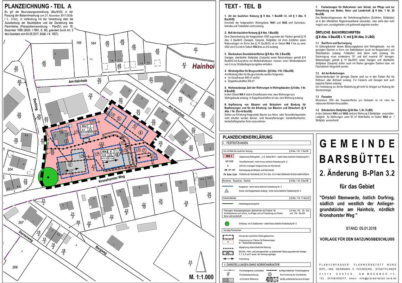 Planzeichnung Baugebiet Gemeinde Barsbüttel