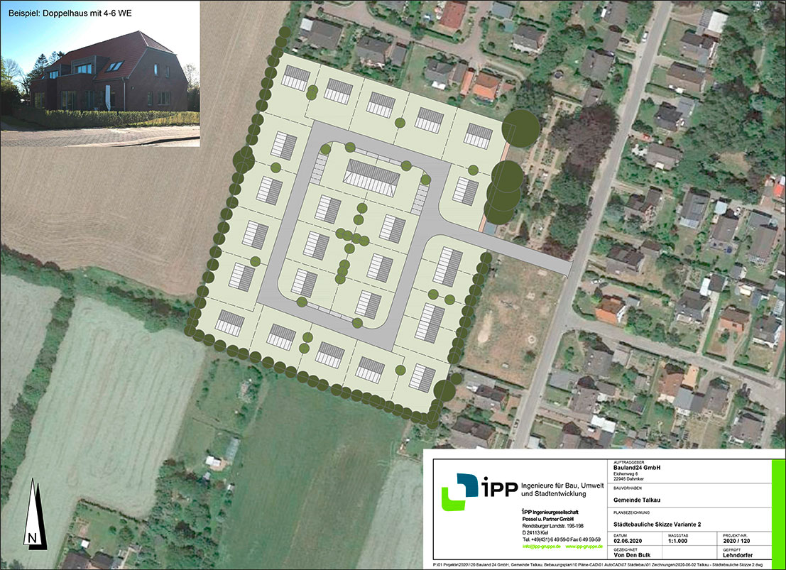 Planungsunterlage Bauland Gemeinde Talkau in Schleswig Holstein