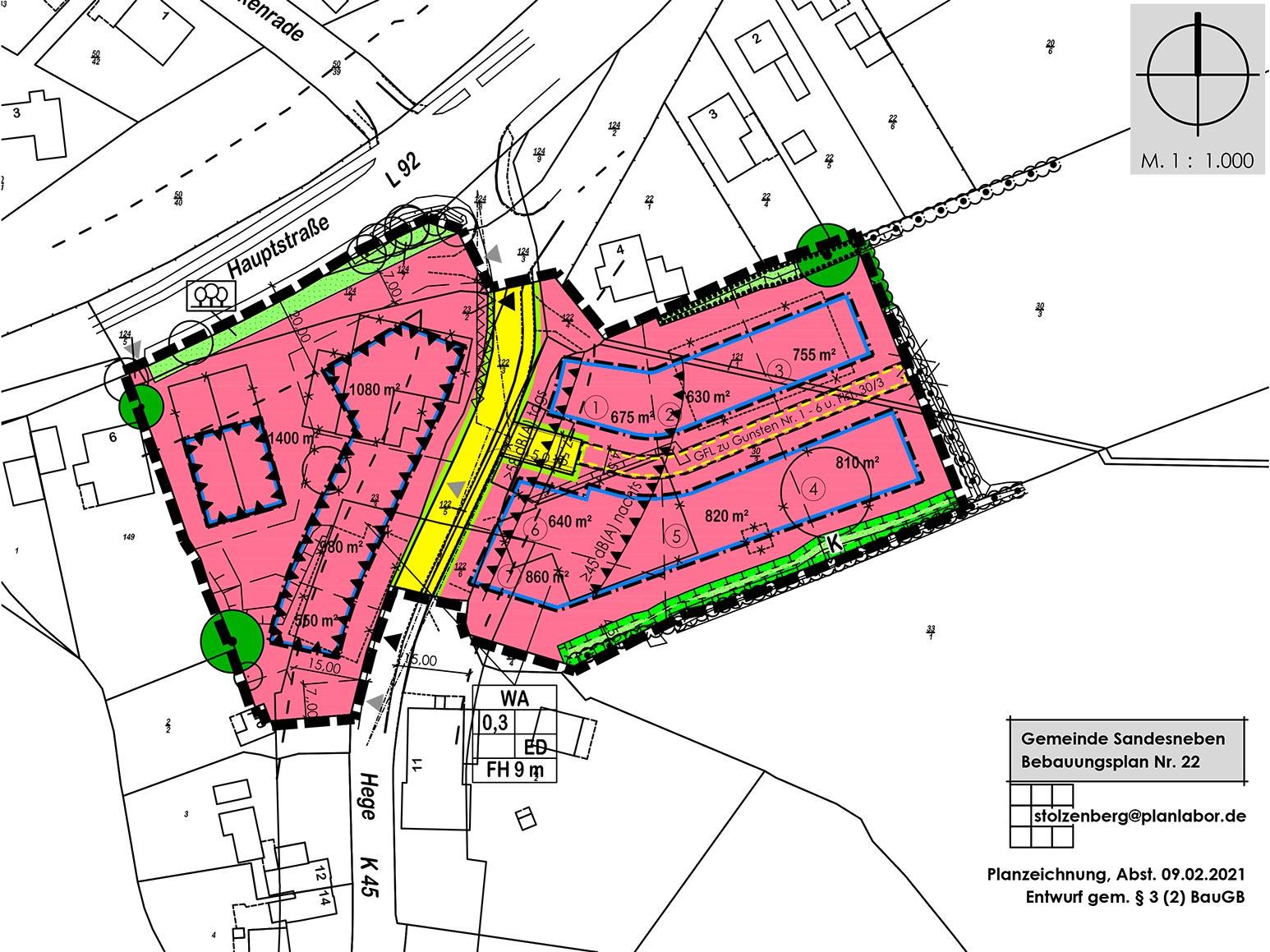 Bebauungsplan Gemeinde Sandesneben in Schleswig Holstein